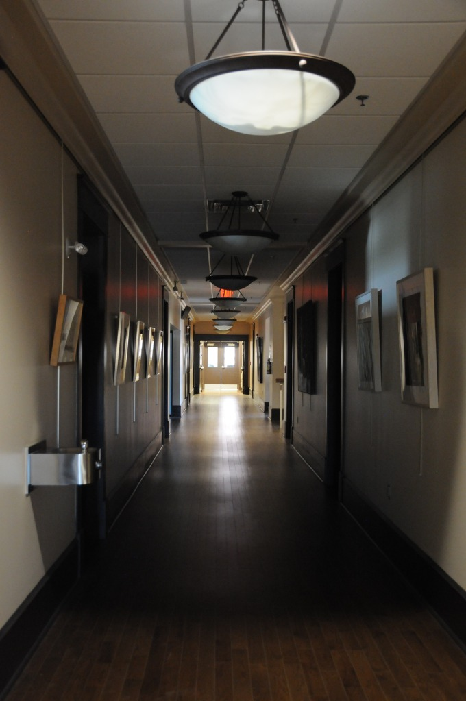 The dark hallways were empty during our visit.