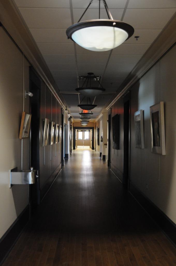 The dark hallways were empty during our visit.