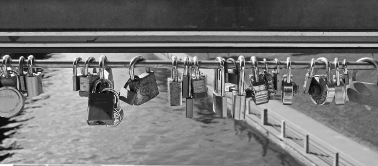 Locks on a pedestrian bridge over Rideau Canal