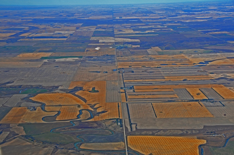 Flat harvested land creates beautiful designs