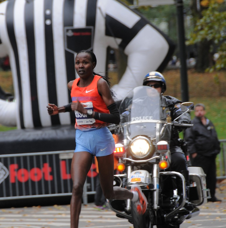 First place finish in the Women's. Priscah Jeptoo 2:25:07 Kenya