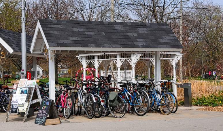 Bike stalls near the ferry terminal on Ward's Island