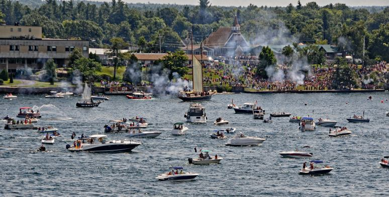 Reenactment of the pirate ship attack on the village at Alexandra Bay, NY